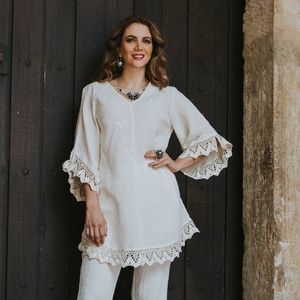 Hand embroidered, Lace Top, Crinkle Cotton Blouse.